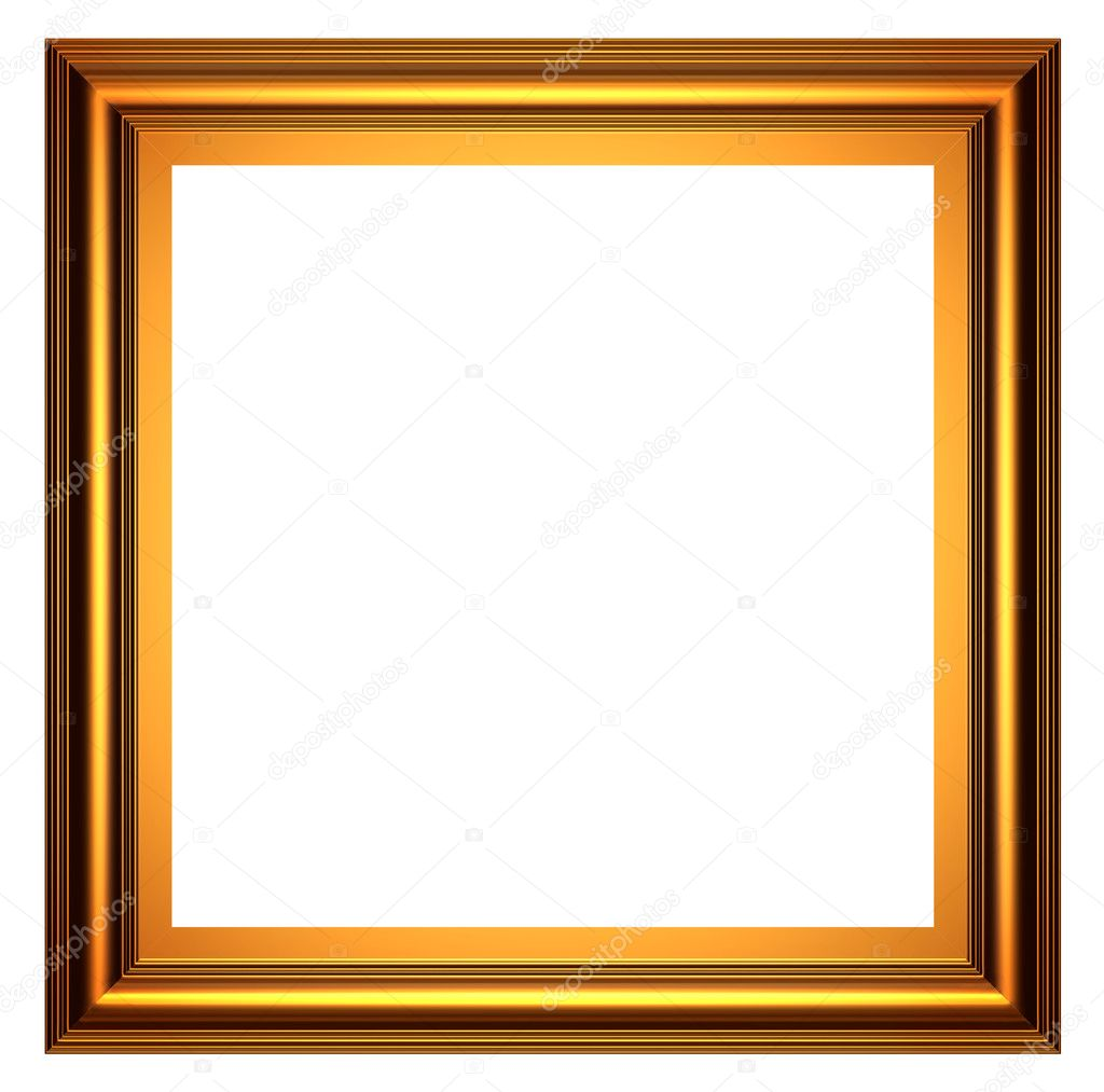 3d series square gold frame on white background photo by yotka