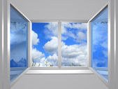 View from the window of blue sky — Stock Photo