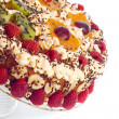 Stock Photo: Cake with cream and fruits