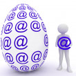 Female and easter egg in email — Stock Photo