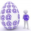 Stock Photo: Female and easter egg in email