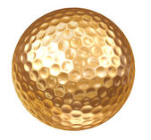 Gold Golf Ball on white — Stock Photo