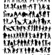 Much silhouettes — Stock Vector