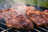 Roasted meat on the grill. — Stock Photo
