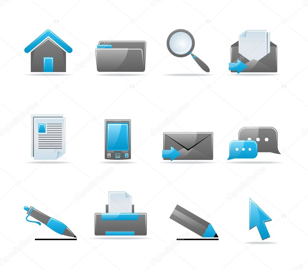 Set of 12 glossy web icons. Shopping, business and money icon set. Part 1. (see other in my portfolio) — Stock Vector #1903118
