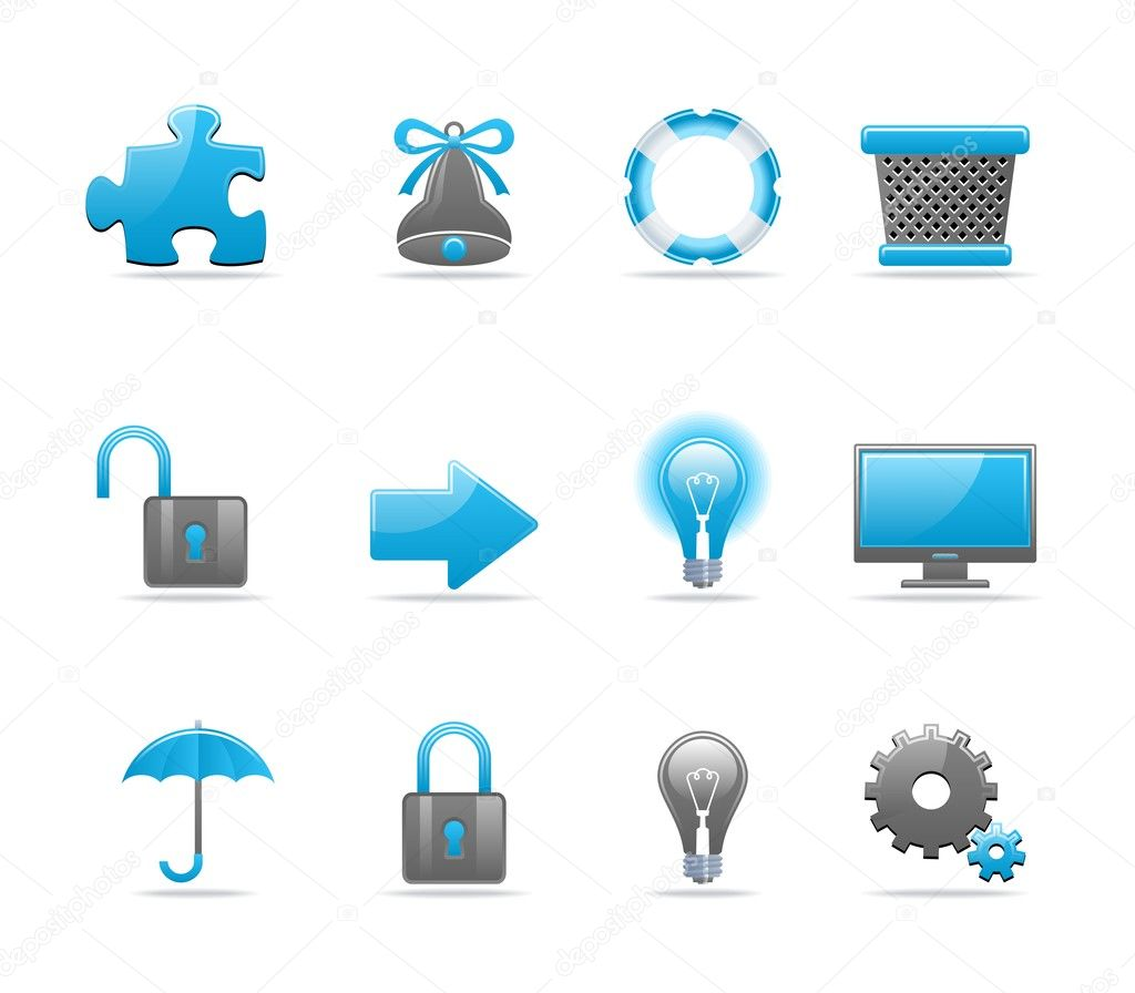 Set of 12 glossy web icons. Shopping, business and tachnology icon set. Part 2 (see other in my portfolio) — Stock Vector #1916359