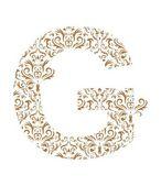 Floral letter. Ornament font — Stock Vector