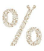 Floral symbol % Ornament font — Stock Vector