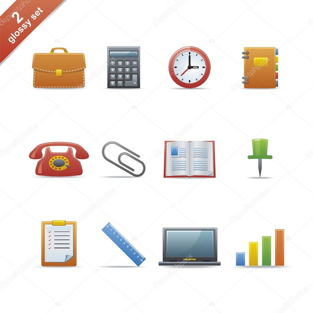 Set of 12 glossy web icons Part 2 (see other in my portfolio). — Stock Vector #1941846