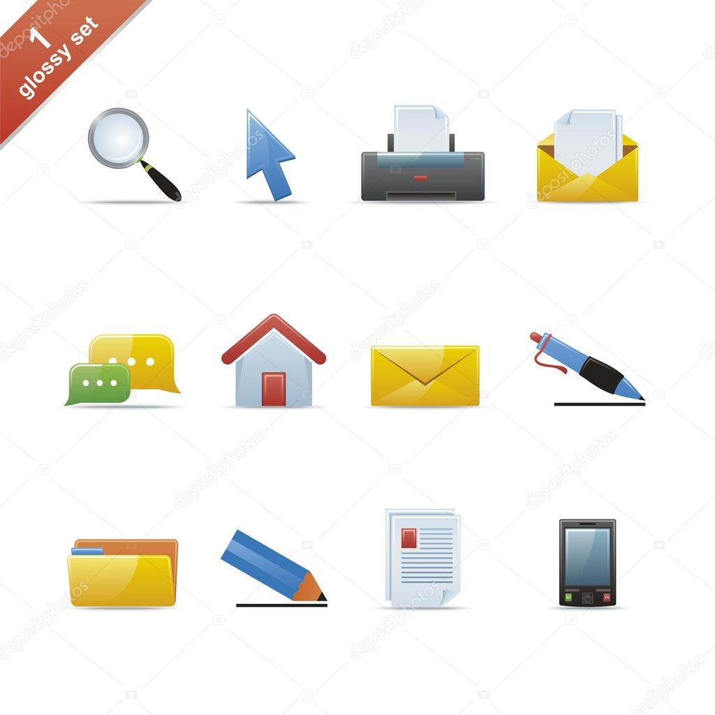 Set of 12 glossy web icons Part 1 (see other in my portfolio). — Stock Vector #1941851