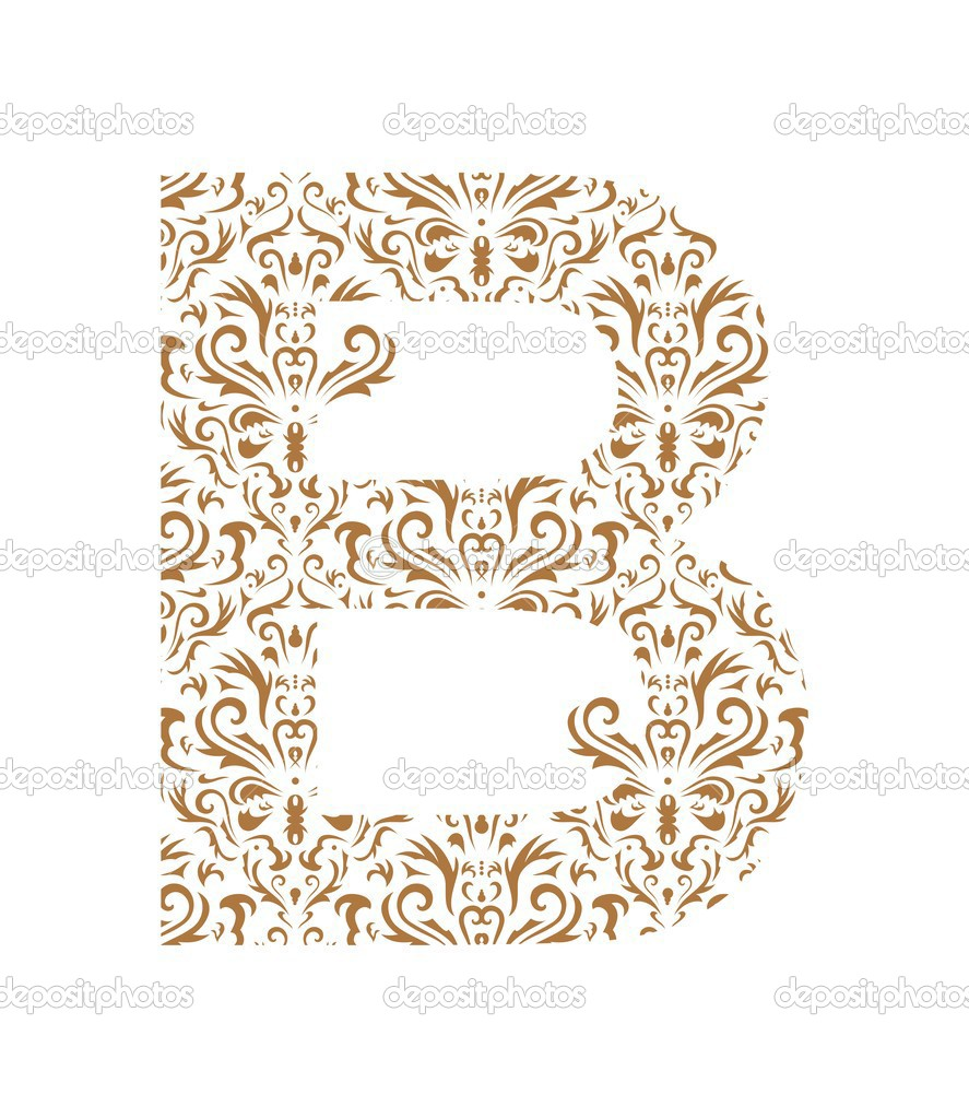 floral letter ornament font stock vector 1942490