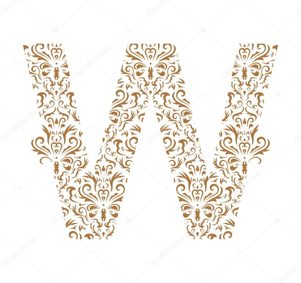 floral letter ornament font stock vector 1942653