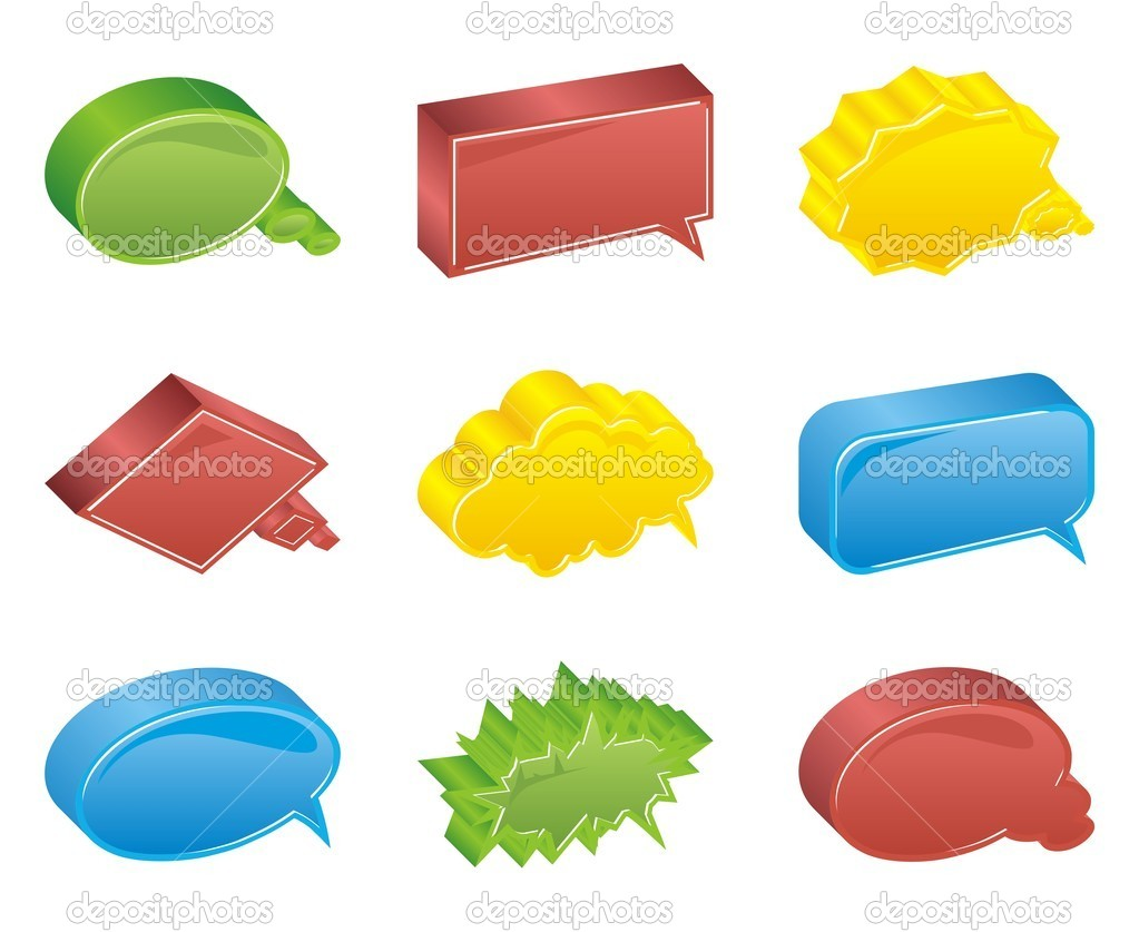 Color, glossy web icons; includes thought bubbles. — Stock Vector #1957658