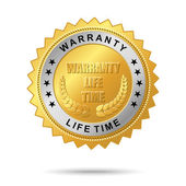 Warranty life time golden label — Stock Vector