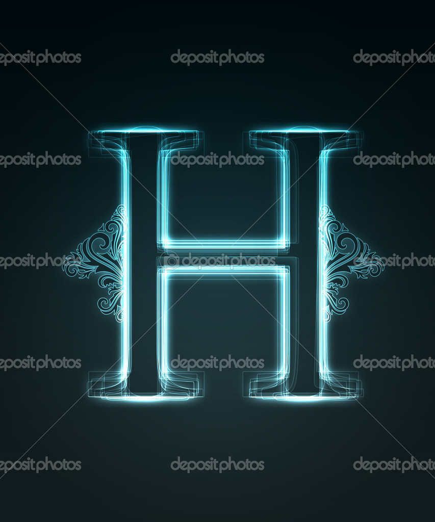 Glowing Font Shiny Letter H  Stock Image