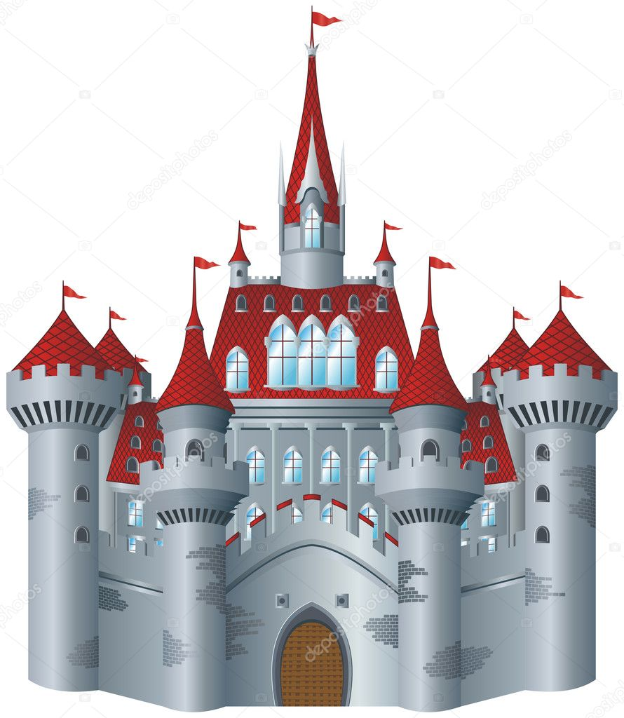 Fairy-tale castle on white background. — Stock Vector #2288690