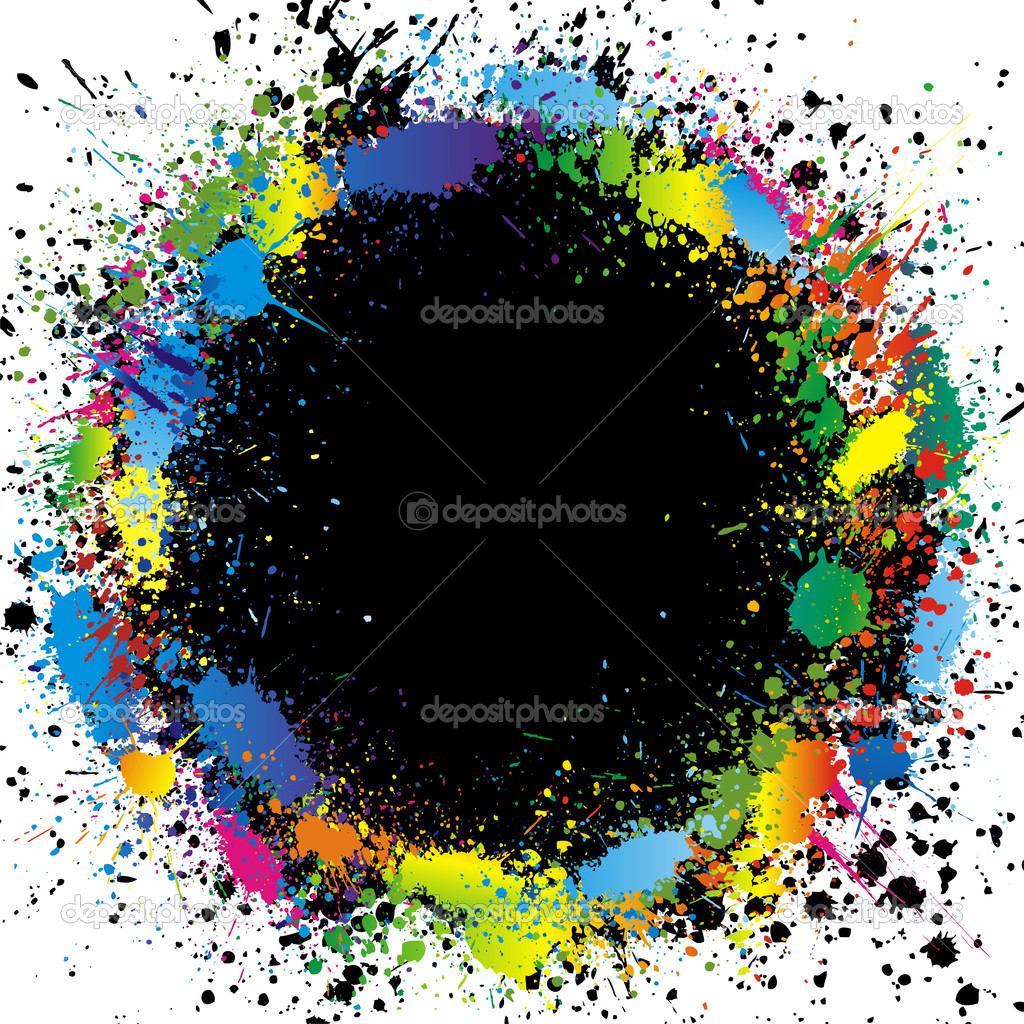 Illustration of color paint splashes on black background and with place for your text  Stock Vector #2326381
