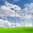 Green meadow with Wind turbines — Stock Photo