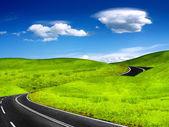 Bochtige bergweg — Stockfoto