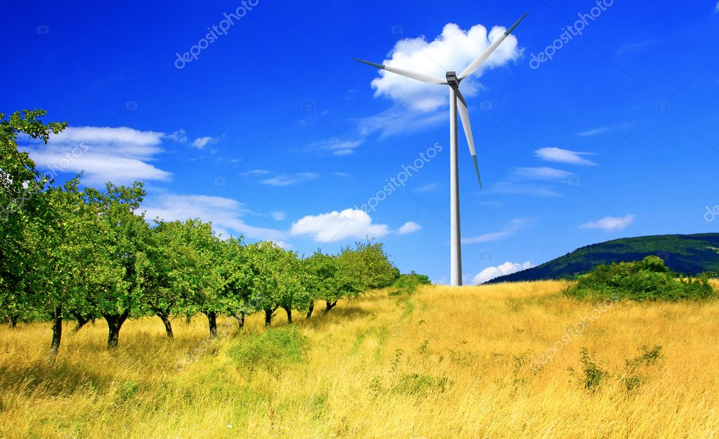 Apple orchard and wind turbine — Stock Photo #1884120
