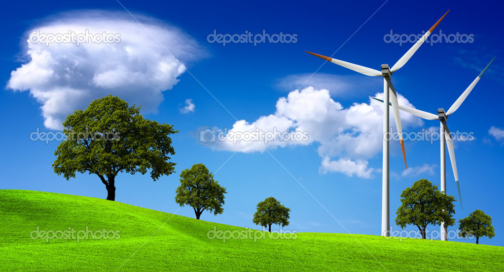 Wind turbines farm on the hills — Stockfoto #1885398