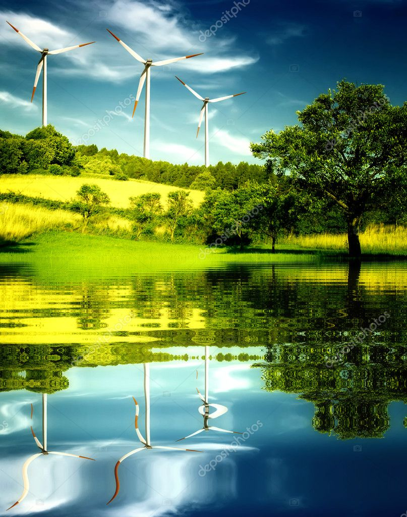 Wind turbines in the mountain.  Stock Photo #1885455