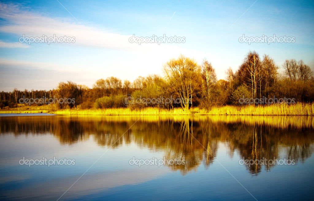 Pond water surface with reflection of colorful trees in autumn park  Stock Photo #2059588