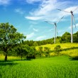 Stock Photo: Windmill and beautiful summer landscape