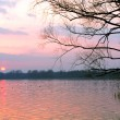 Red sunset over lake — Stock Photo