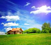 Yeni dağ evinde — Stok fotoğraf