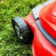 Stock Photo: Lawnmower on the grass