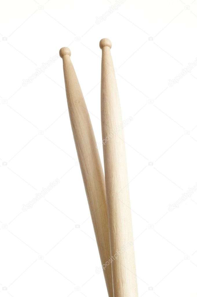 Drums sticks crossed on white background — Stock Photo #2018078