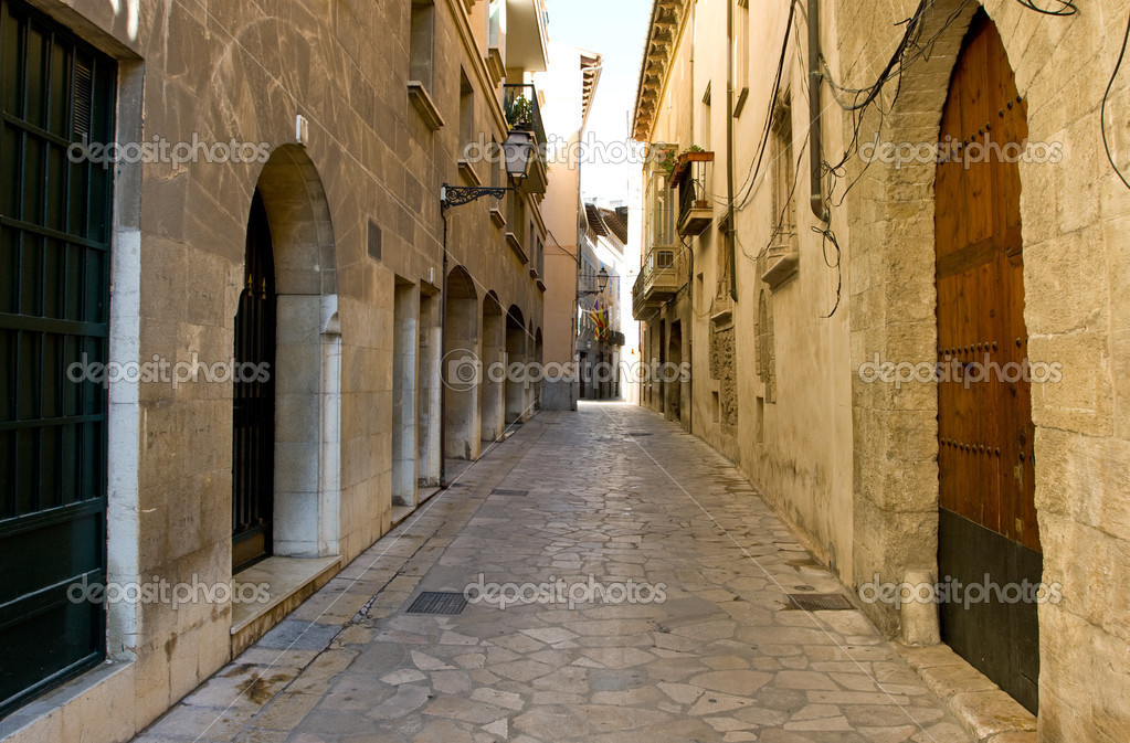 Narrow spanish street, Palma, Mallorca  Foto Stock #2192215