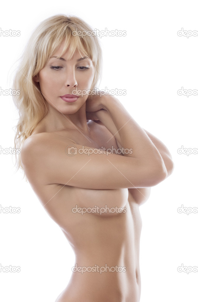 High key portrait of young beautiful woman  on white back  Stock Photo #1967055