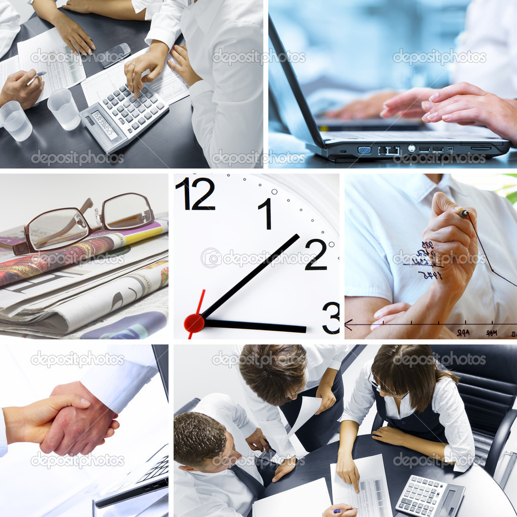 Business theme photo collage composed of few images — Stock Photo #1998205