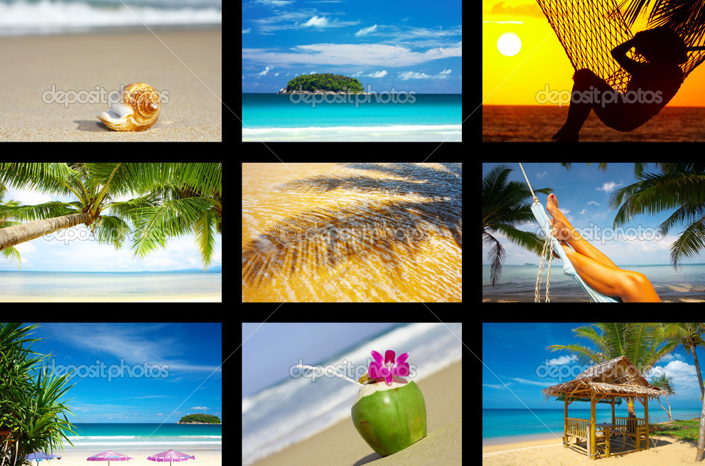 Summertime theme photo collage composed of few images   — Foto Stock #1998307