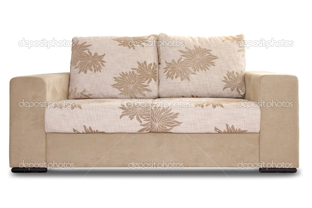 Sofa in begie tones on a white background — Stock Photo #1851301