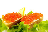 Sandwiches with salmon roe — Stock Photo