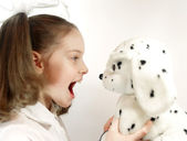 Girl with a toy — Stock Photo