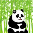 Panda in the bamboo forest — Stock Vector