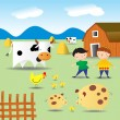 Summer on a farm - Imagens vectoriais em stock