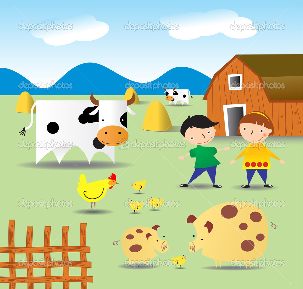 Vectorial the images of animals of which can be met on a farm, and children pigeon pair  Stock Vector #1853801