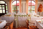 Wedding reception table — Stock Photo