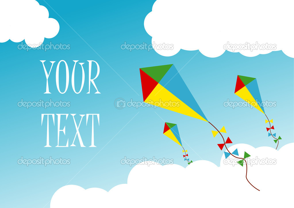 Creative kites, flying in clouds — Stock Vector #2615262