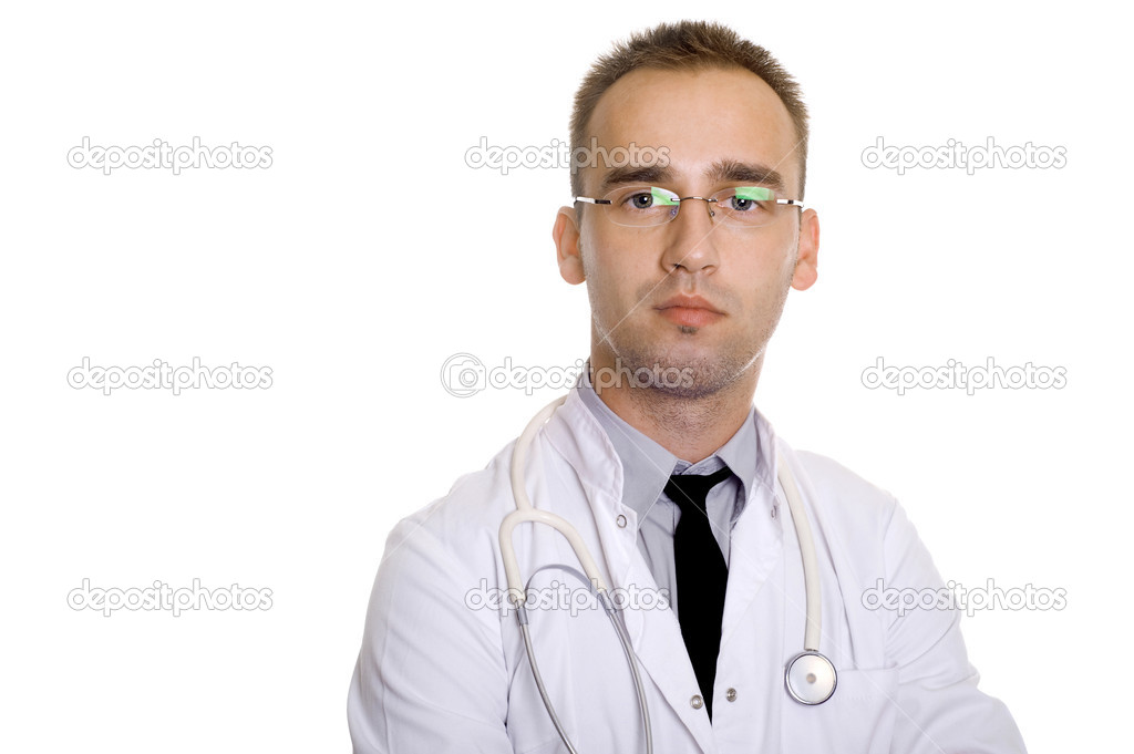 Young male doctor with stethoscope, in glasses — Stok fotoğraf #1956640