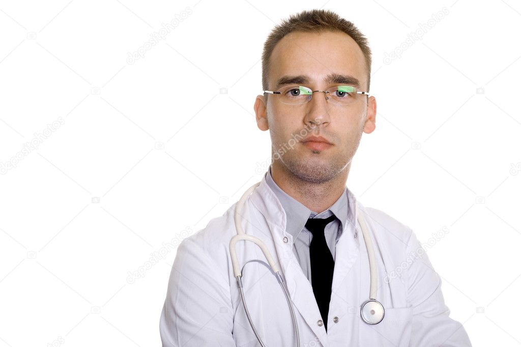 Young male doctor with stethoscope, in glasses — Stock fotografie #1956640