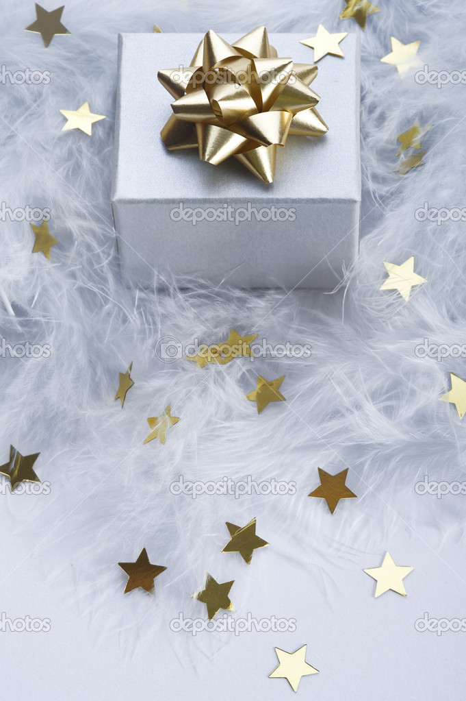 Gift with decorative gold ribbon and stars on feather  Stock Photo #1970550