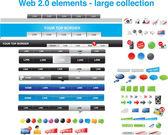 Elementy sieci web 2.0 - duża kolekcja — Wektor stockowy