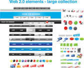 Web 2.0 elements - large collection — Stok Vektör