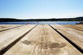 Steiger op zee in zweden — Stockfoto
